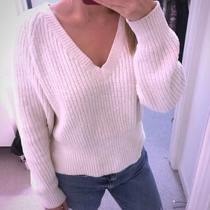 urban outfitters cream vneck sweater